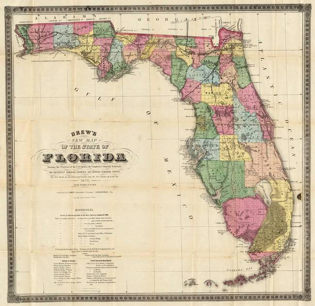 Antique Map Of Florida.Vintage Map Of Florida 1870 By Vintage Map Store