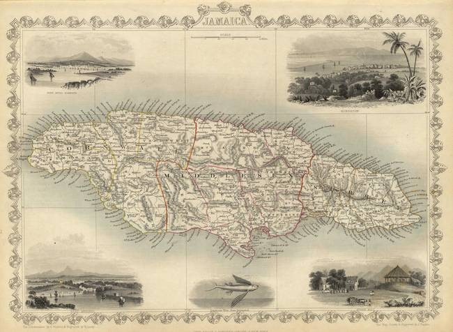 Vintage Map Of Jamaica By Alleycatshirts Zazzle - Vintage map of jamaica