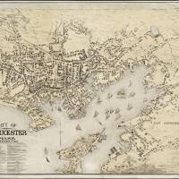 """""""Vintage Map of Gloucester MA (1873)"""" by Alleycatshirts"""