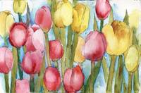 Tulip Party, Pink Yellow watercolor floral paintin