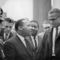 """Martin Luther King Jnr (1929-1968) and Malcolm X ("" by fineartmasters"