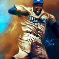 """Jackie Robinson Brooklyn Dodgers MLB Steal"" by artofvela"