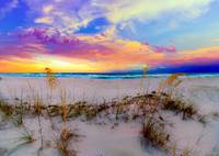 Purple Pink and Blue Sunrise over Beach Sea Oats