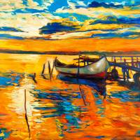 """ocean and boat at sunset"" by boyan"