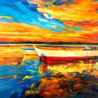 """ocean and boats at sunset"" by boyan"