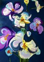 Violet Orchids on Navy Background