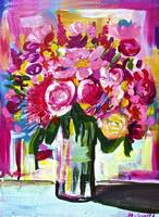 Bright Colorful Floral Bouquet in Vase