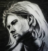 Kurt Coabin. Charcoal drawing