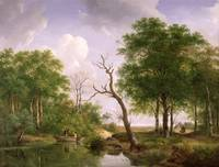 A wooded river landscape with sportsmen in a rowin