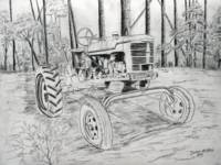 old farm tractor drawing