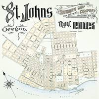 Vintage 1905 Map of St. Johns, Oregon