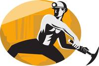 Coal Miner With Pick Ax Striking Retro