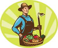 Farmer With Garden Hoe And Basket Crop Harvest