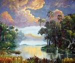 Florida Wilderness Clouds and Egrets by Mazz Original Paintings