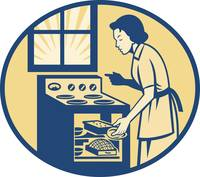 Housewife Baker Baking in Oven Stove Retro