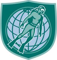 Scuba Diver Diving Dive World Shield