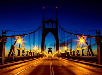St Johns Bridge At Night Portland Oregon By Greg Wytcherley