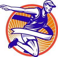 Male Marathon Runner Running Retro Woodcut