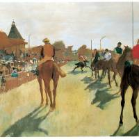 """Race Horses Before the Stands (c 1879)"" by ArtLoversOnline"