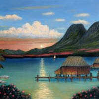 """Tahitian Sunset"" by GordonBeck"
