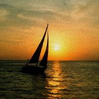 Sunset Sail by John Tribolet