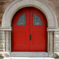 Red Church Doors by Karen Adams