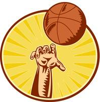 Basketball Player Hand Catching Throwing Ball
