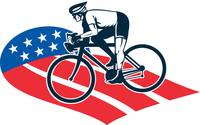 Cyclist riding racing bike star and stripes flag