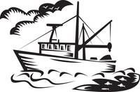 commercial fishing boat ship sea woodcut