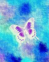 Glowing Violet White Butterfly on Abstract