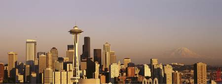 Example of Seattle skyline in perspective on angled canvas
