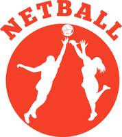 Netball player rebounding for ball