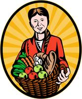 female organic farmer crop harvest basket