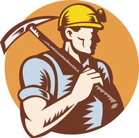 coal miner at work with pick ax
