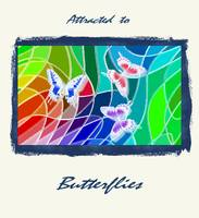 Three Butterflies On Stained Glass Abstract 2 with
