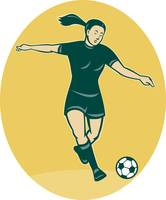 soccer player woman kicking ball