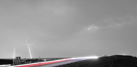 47 Street Lightning Storm Light Trails View Panora