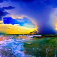 """""""Grean Blue Seascape Cloud Plume Fine Art Prints"""" by eszra"""