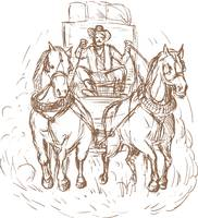Cowboy stagecoach driver and horses front