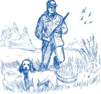 Hunter and trained pointer gun dog hunting