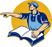 worker tradesman man read book pointing