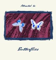 Two Blue & White Butterflies on a Violet Burgundy