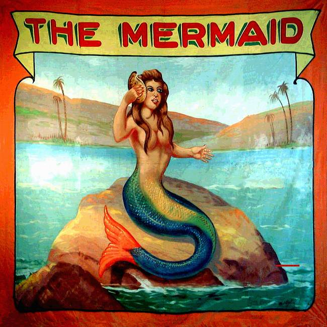Vintage Mermaid Carnival Poster Print By Rebecca Korpita