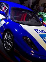 Blue and White Race Car