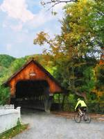 Bicyclist At Middle Bridge Woodstock VT