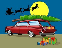 Station Wagon Christmas with Santa on Sleigh