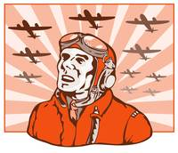 World War Two Pilot Airman Retro