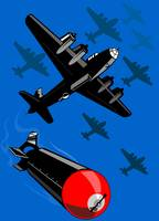 World War Two Bomber Airplanes Drop Bomb Retro