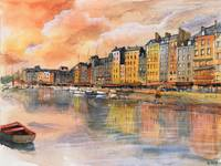 Sunset over Honfleur - Watercolor