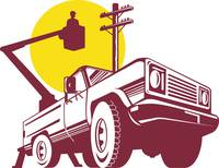 bucket pick-up truck with cherry picker